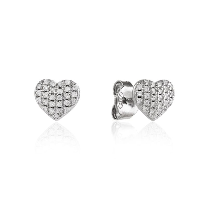 heart stud earrings - silver earrings - HC Jewellers - Royston