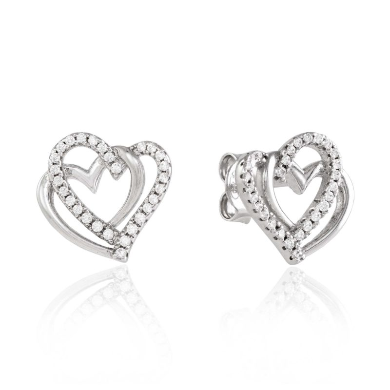 heart studs - silver earrings - cubic zirconia - HC Jewellers - Royston