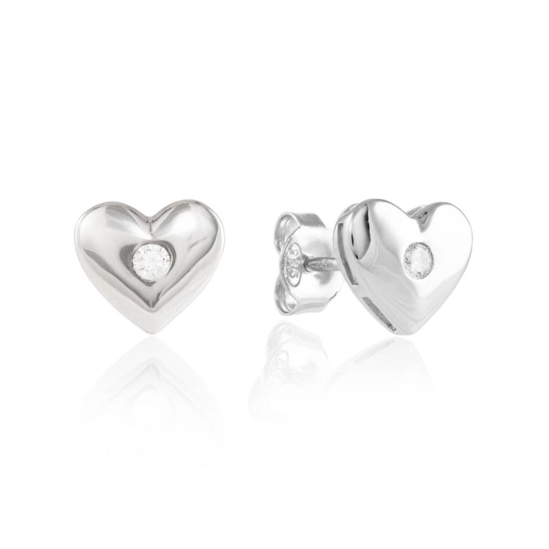 silver heart studs - silver earrings, - studs - cubic zirconia - HC Jewellers - Royston