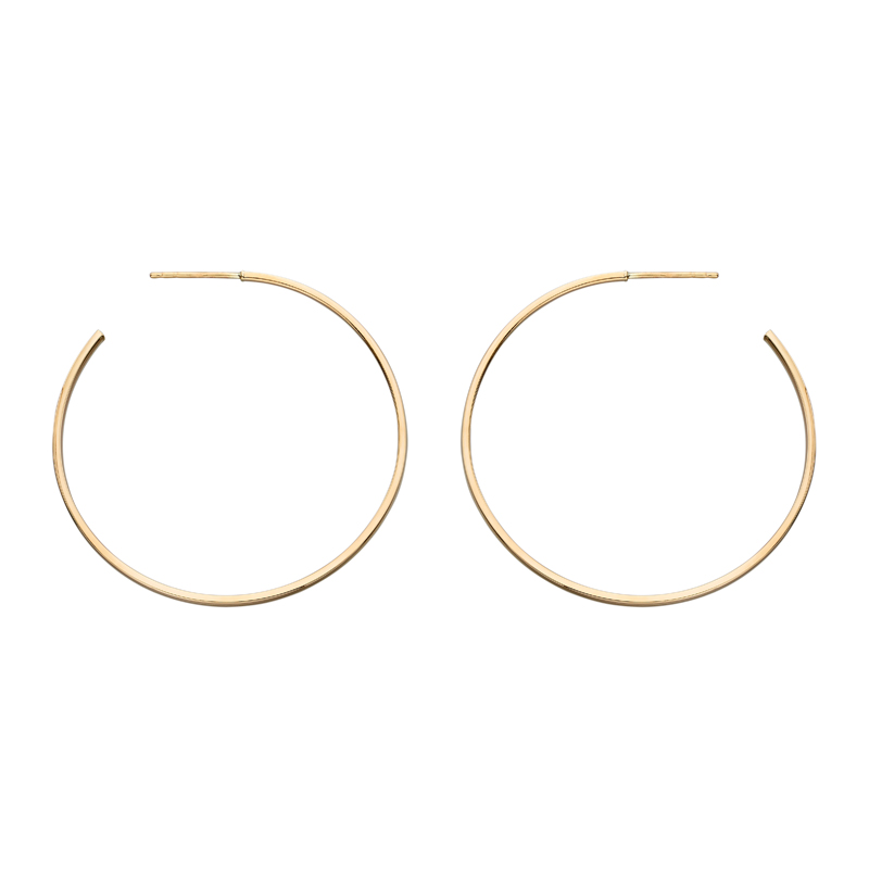gold-hoop-earrings-30mm-square edge-9ct gold- HC Jewellers - Royston