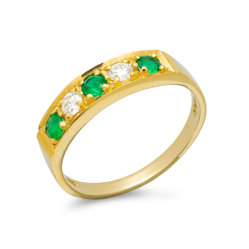 Pre-owned-18ct-Gold-Emerald-Diamond-Ring