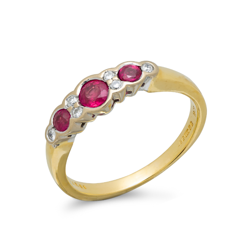 Pre-owned-18ct-Gold-Ruby-Diamond-Ring