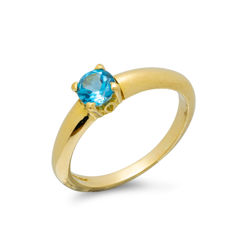 Pre-owned-18ct-Gold-Swiss-Blue-Topaz-Solitaire-Ring