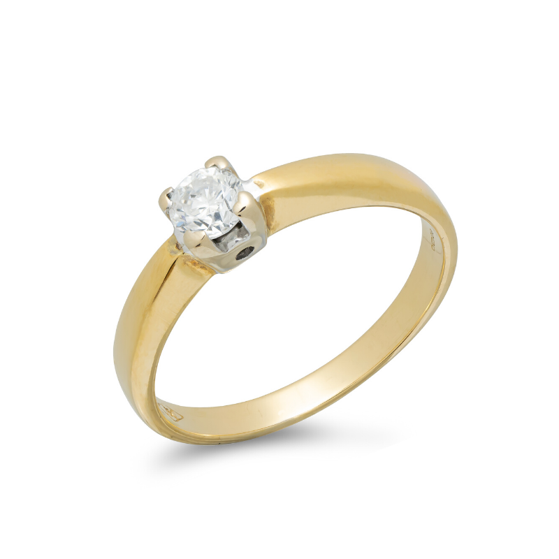 Pre-owned-18ct-Yellow-White-Gold-Diamond-Solitaire-Ring-hc-jewellers-royston-hertfordshire