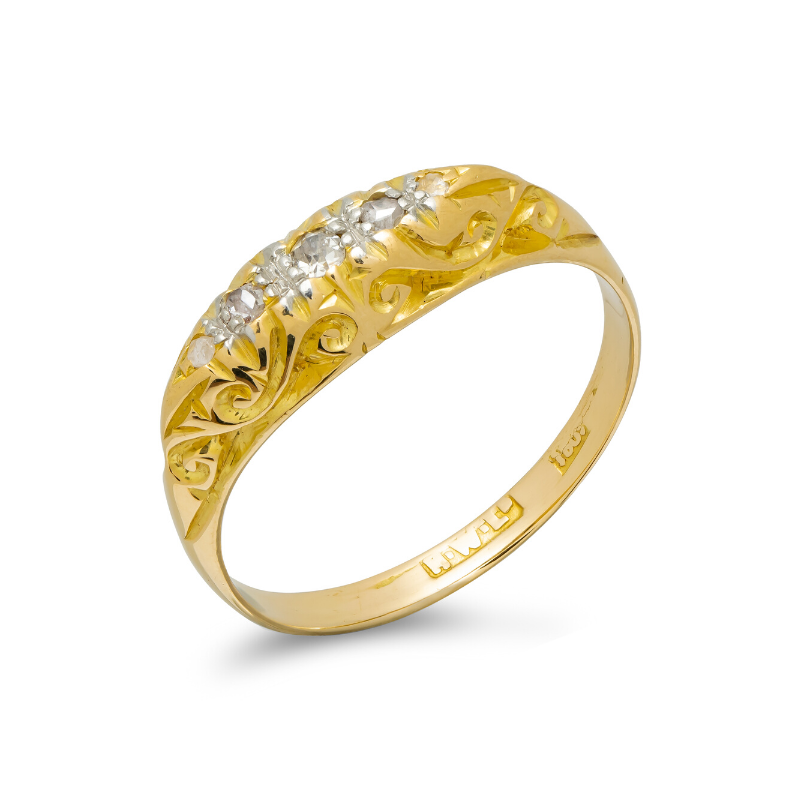 Pre-owned-Antique-18ct-Gold-Diamond-Set-Ring.-hc-jewellers-royston-hertfordshire