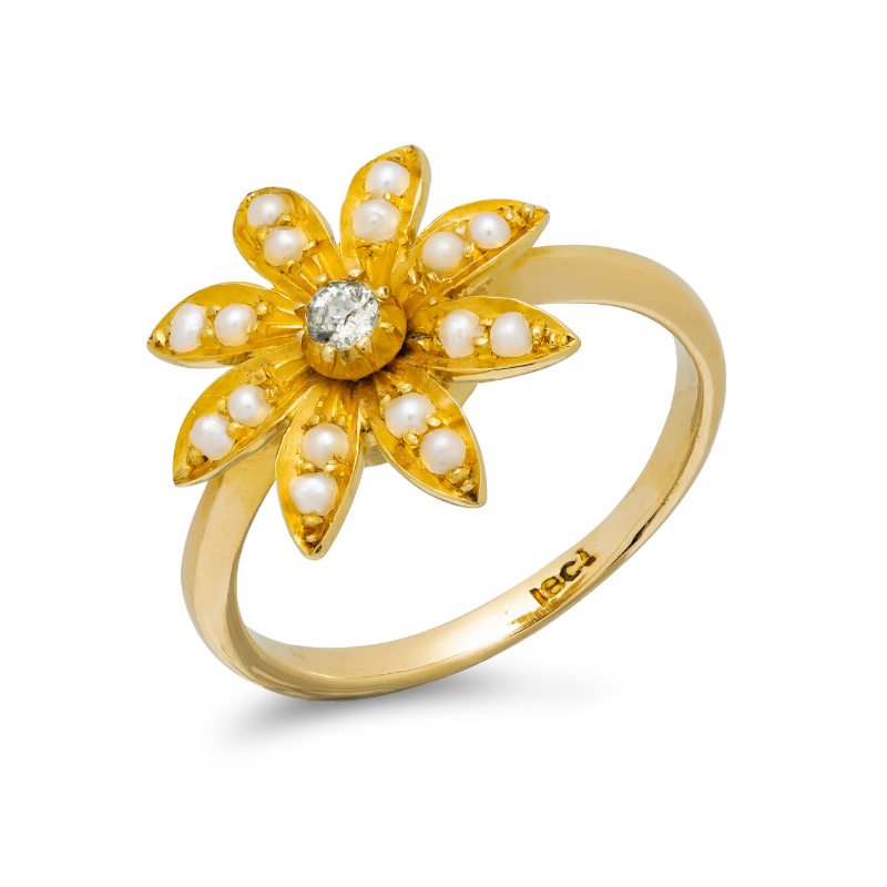 Pre-owned-Early-20th-Century-18ct-Gold-Seed-Pearl-Diamond-Flower-Ring-hc-jewellers-royston-hertfordshire