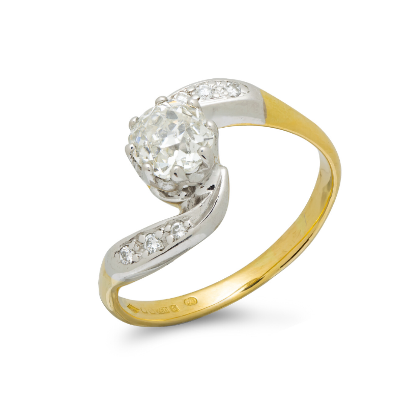 Pre-owned-Vintage-18ct-Gold-Diamond-Solitaire-Ring-hc-jewellers-royston-herfordshire