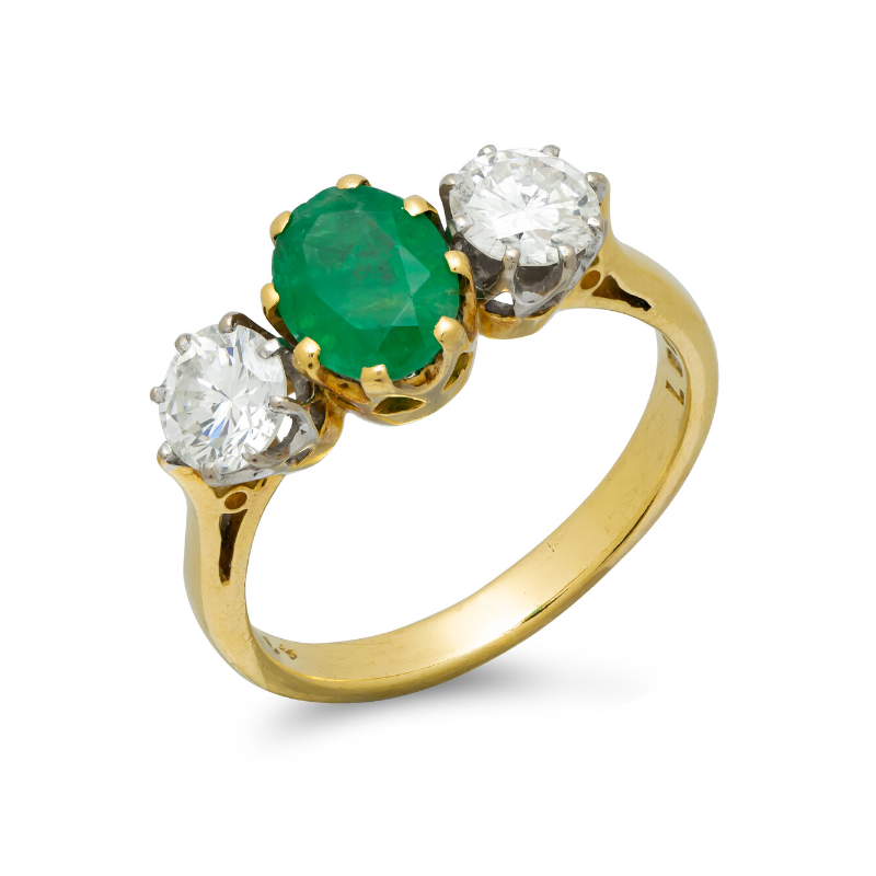 Pre-owned-Vintage-18ct-Gold-Emerald-Diamond-Three-Stone-Ring
