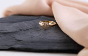 9ct gold heart ring with finger print engraving