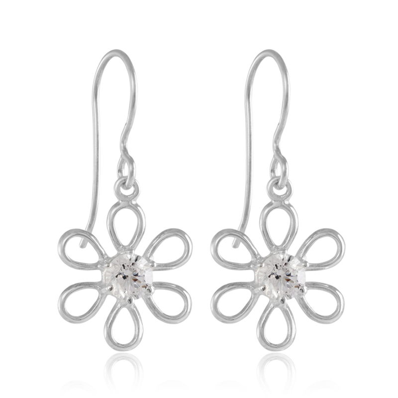 Silver Flower Earrings - Sterling Silver Cubic Zirconia Flower Drop Earrings - Sterling Silver - HC Jewellers - Royston