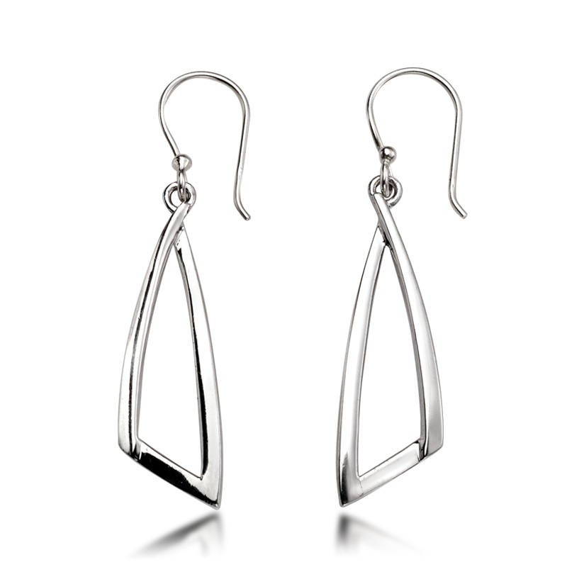 Silver Drop Earrings - Silver Abstract Drop Earrings - HC Jewellers - Royston