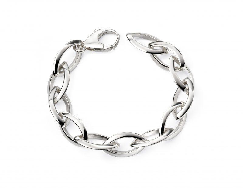 Silver Bracelet - Silver Heavy Marquise Open Bracelet - HC Jewellers - Royston