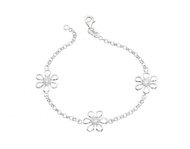 Silver flower bracelet - cubic zirconia bracelet - silver cubic zirconia flower bracelet - HC Jewellers - Royston