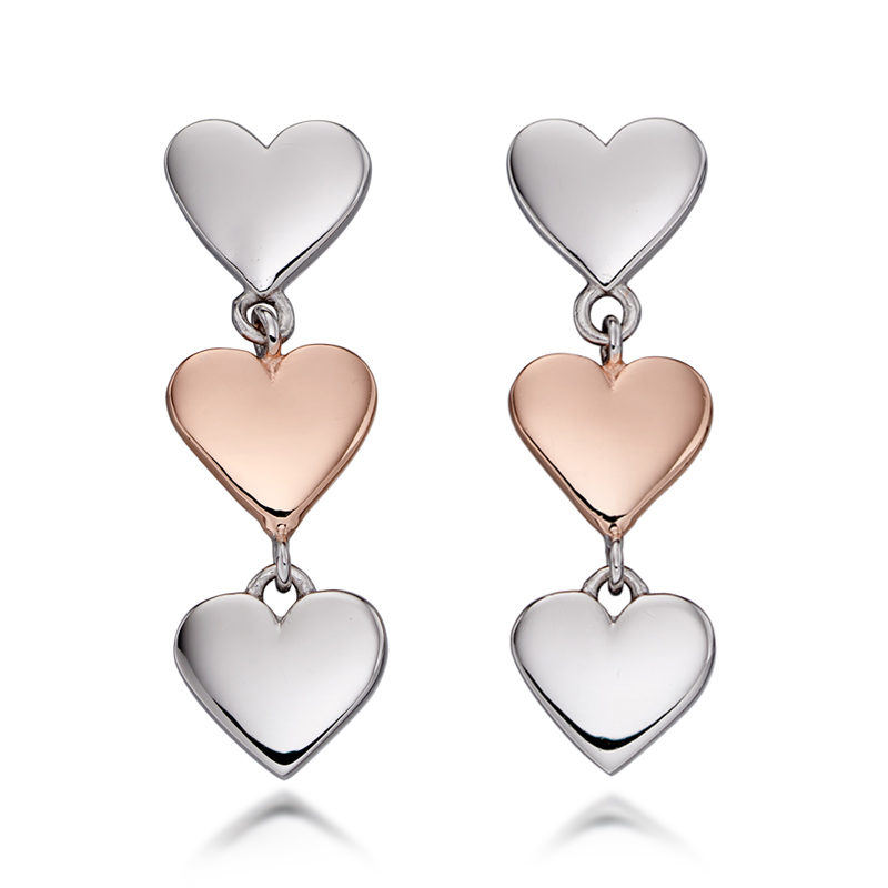 Silver heart earrings - Fiorelli Silver Triple Heart Drop Earrings - HC Jewellers - Royston