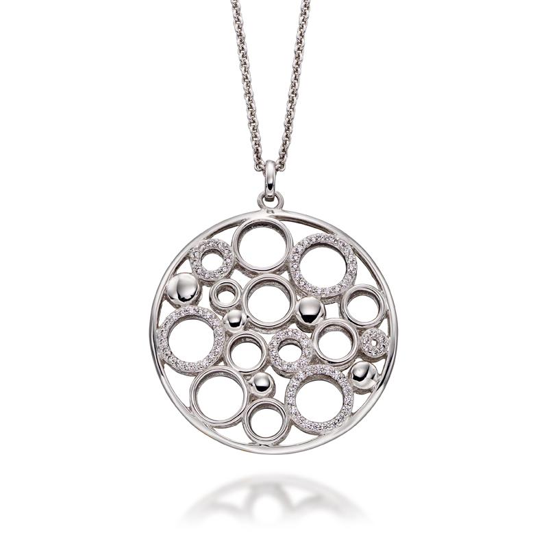 Round Pendant - Round Kaleidoscope Pendant Silver cubic zirconia - HC Jewellers - Royston
