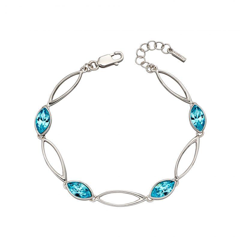 Aqua navette twist blue bracelet sterling silver