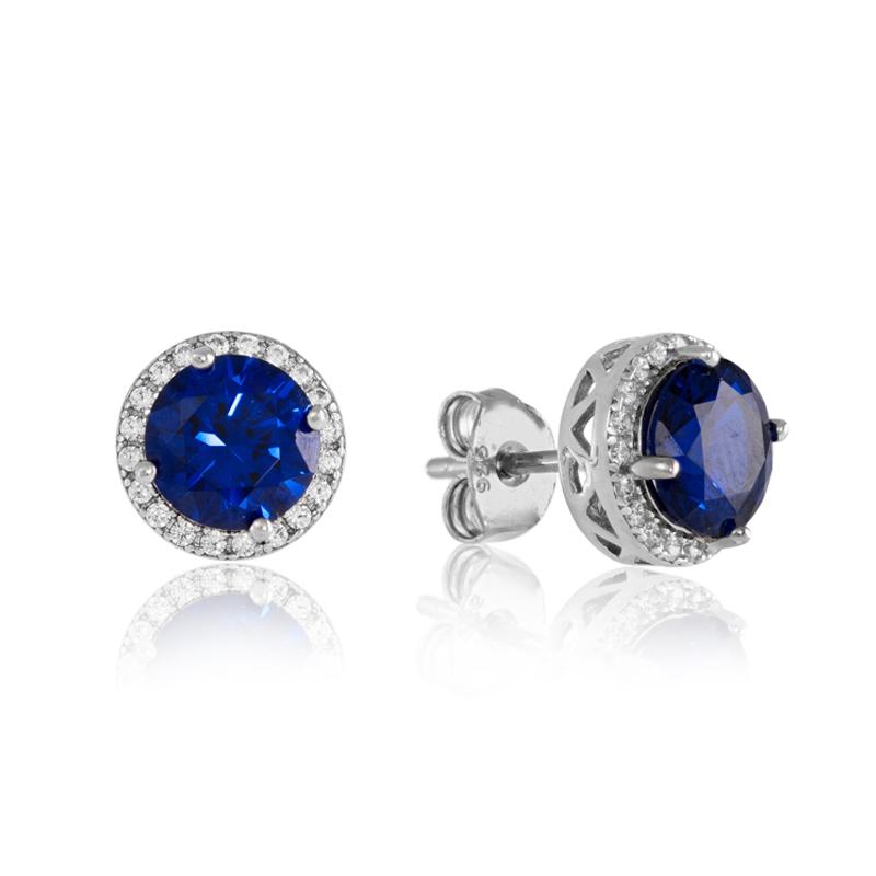 Silver stud earrings - cubic zirconia - sterling silver - HC Jewellers