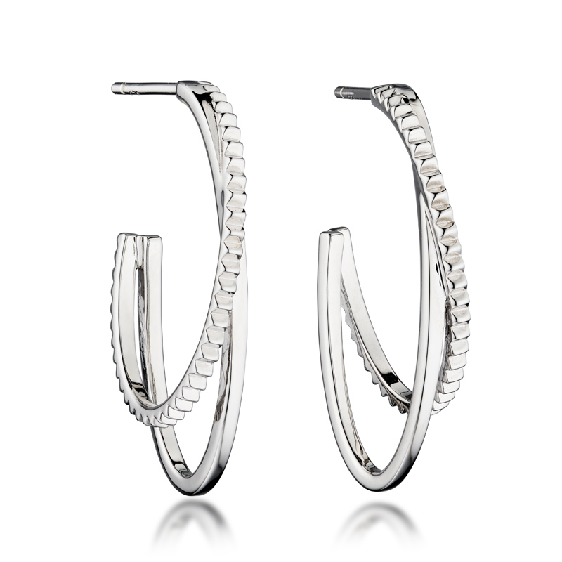 textured hoop earrings - silver earrings - sterling silver - HC Jewellers - Royston