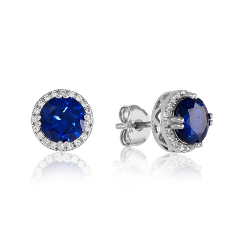 blue stud earrings - sterling silver earrings - HC Jewellers