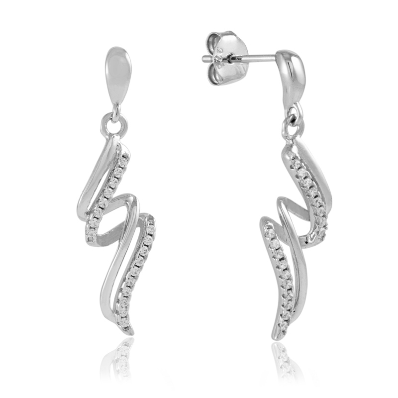 silver twist earrings - sterling silver - HC Jewellers - Royston