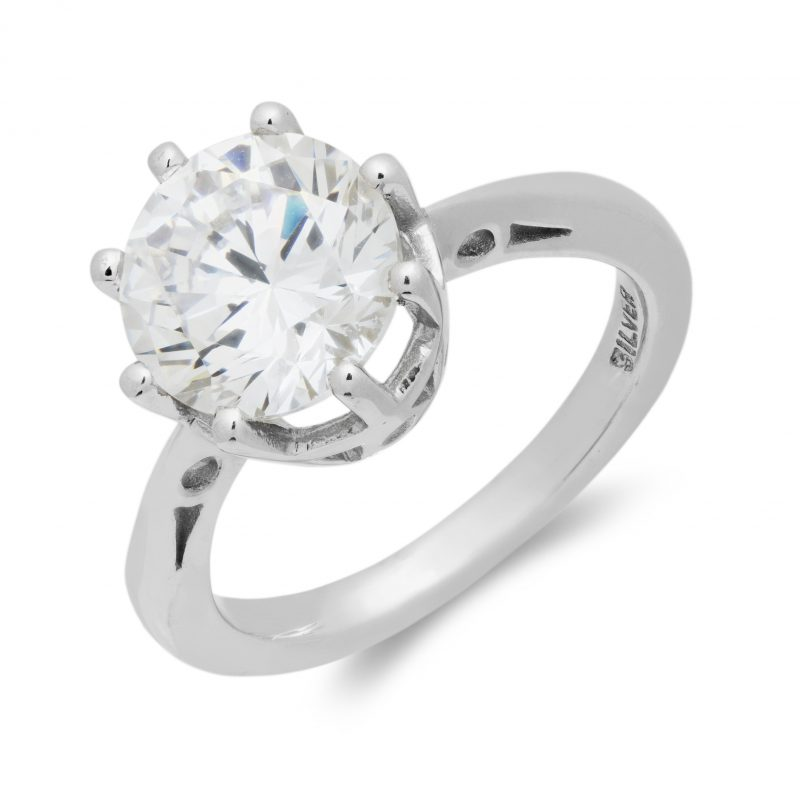 silver - cubic zirconia - ring - solitaire - HC Jewellers - Royston