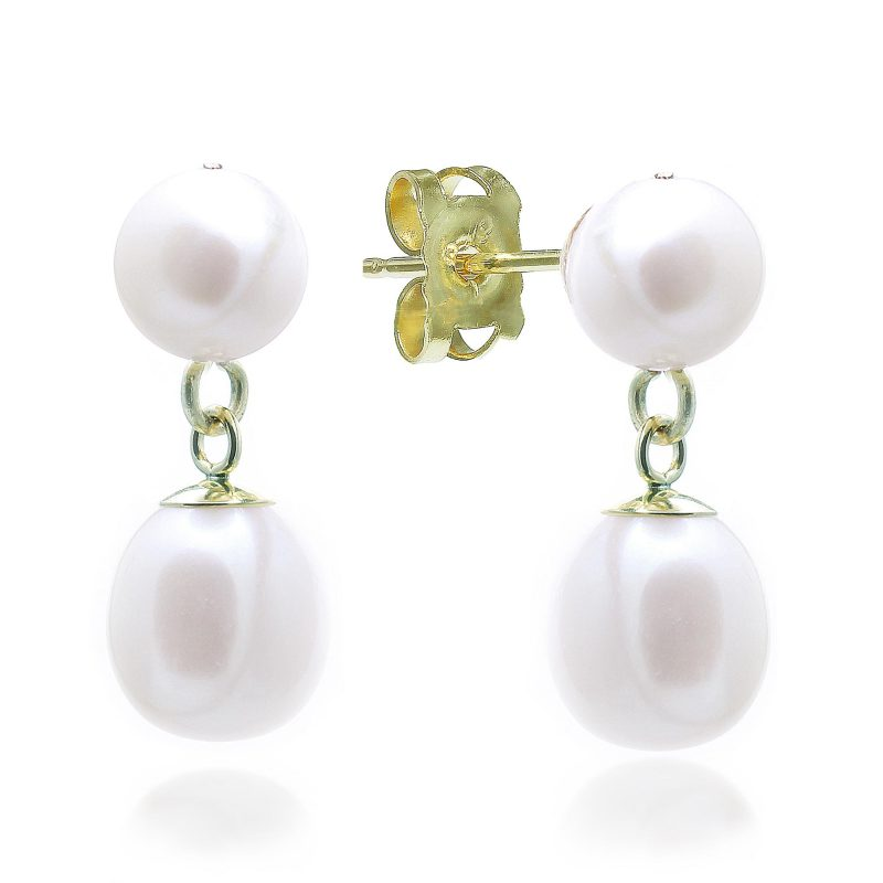 gold pearl earrings - double pearl earrings - gold earrings - HC Jewellers - Royston