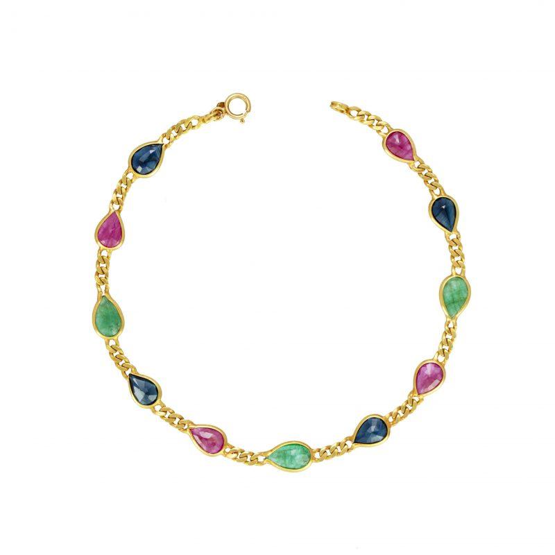 18ct gold bracelet - multi-gem bracelet - gold bracelet - HC Jewellers - Royston