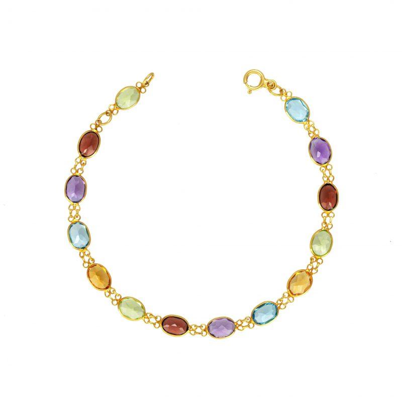 multi gem bracelet - 18ct gold bracelet - gold bracelet - HC Jewellers - Royston