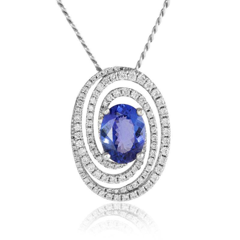 diamond swirl pendant, white gold pendant, HC Jewellers - Royston