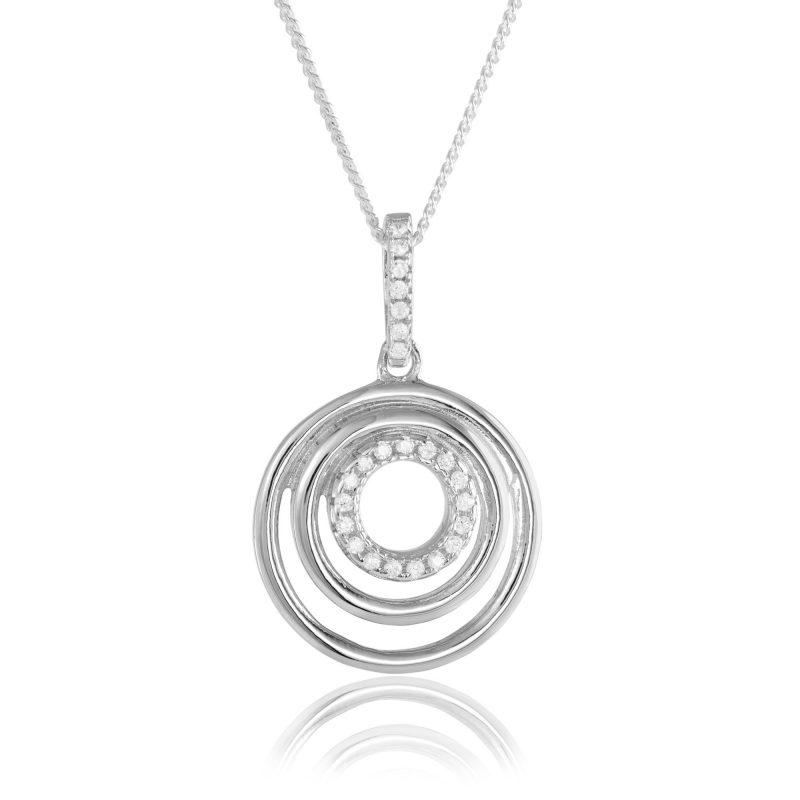 circle-pendant-silver-pendant-cubic-zirconia-HCJewellers - Royston
