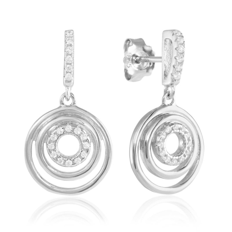 circle earrings - cubic zirconia earrings - silver earrings - HC Jewellers - Royston