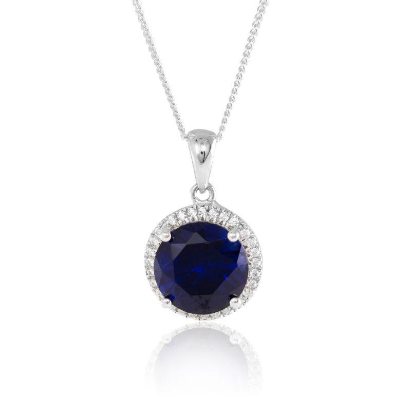 halo-pendant-silver-cubic-zirconia-Hc Jewellers - Royston