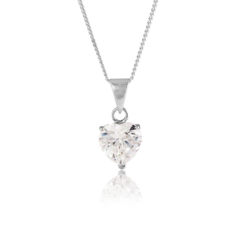 heart pendant - silver - cubic zirconia - HC Jewellers - Royston