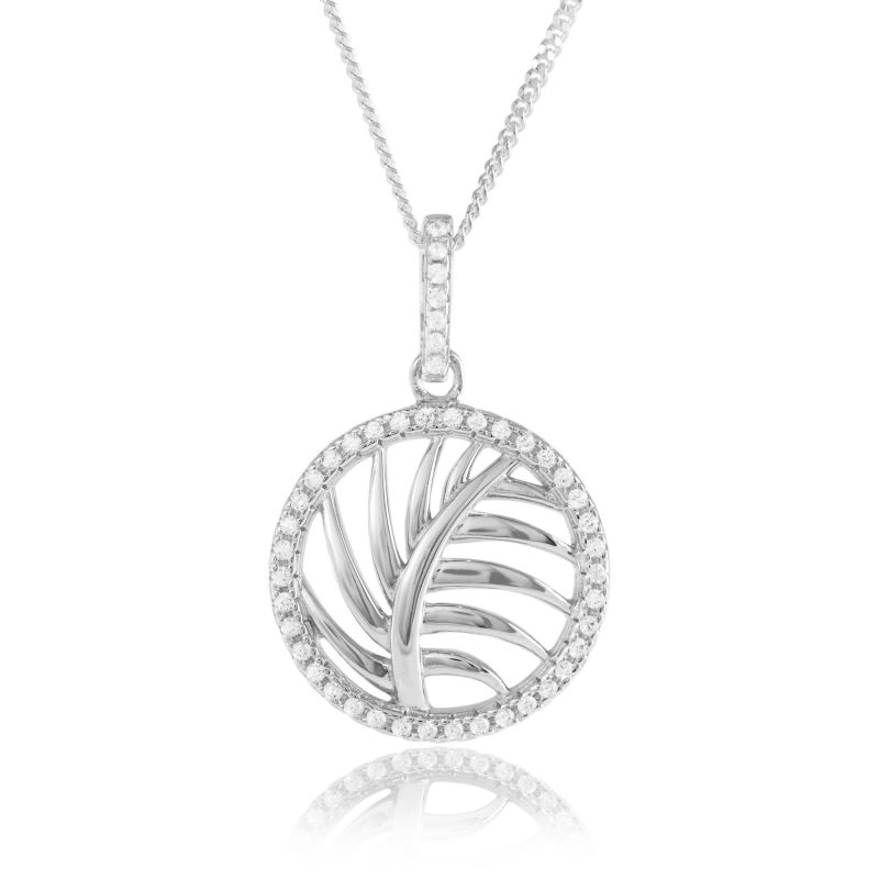 leaf pendant - cubic zirconia - sterling silver - HC Jewellers - Royston