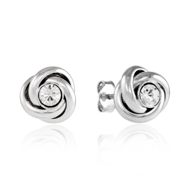 silver knot earrings - cubic zirconia - HC Jewellers - Royston