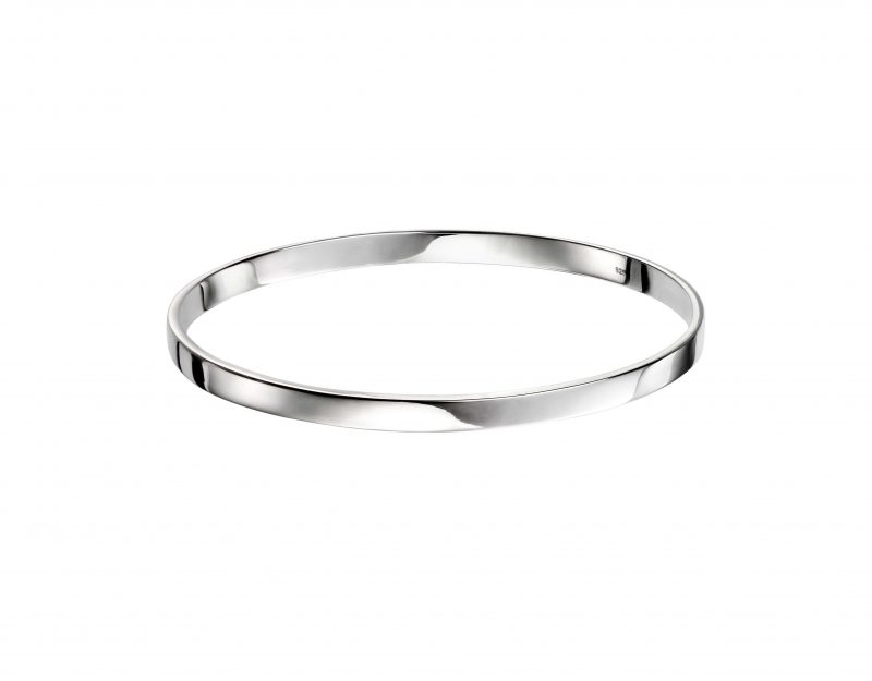silver oval bangle - solid silver - sterling silver - HC Jewellers