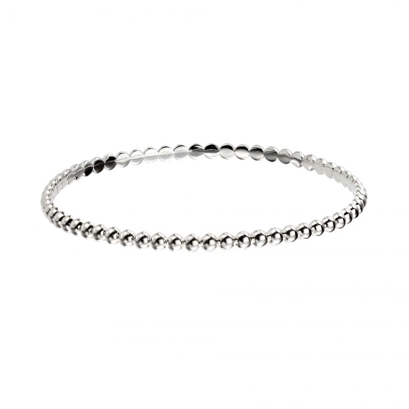 silver round bangle - silver bangle - beaded - HC Jewellers - Royston
