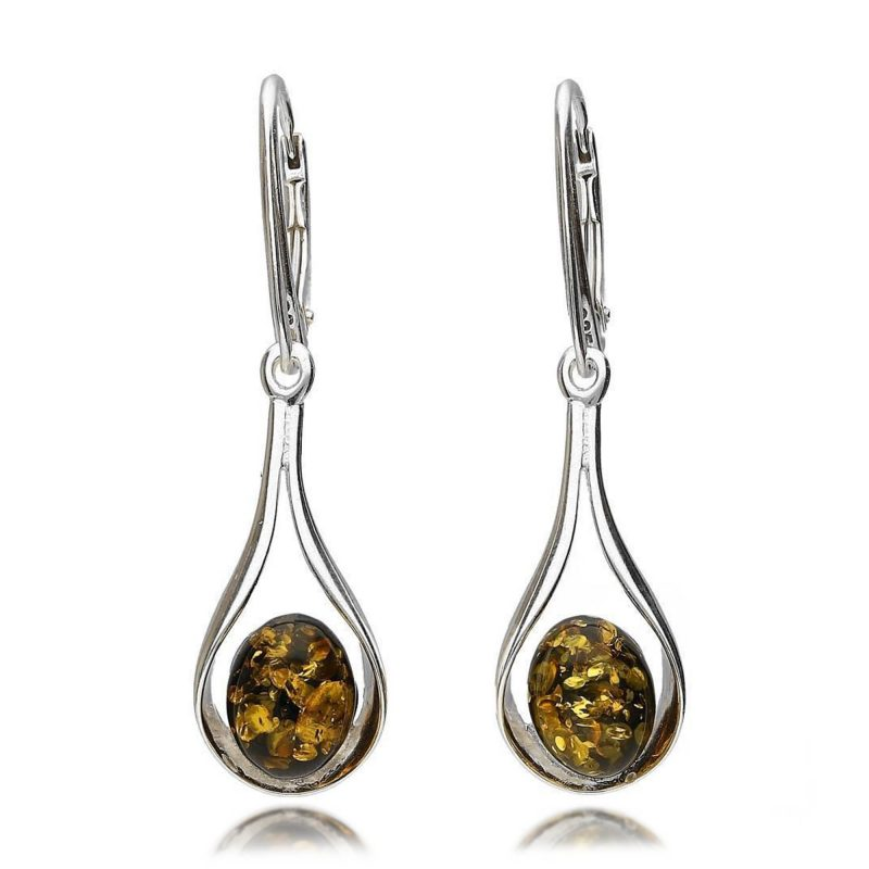 green amber earrings - baltic green - silver - HC Jewellers - Royston