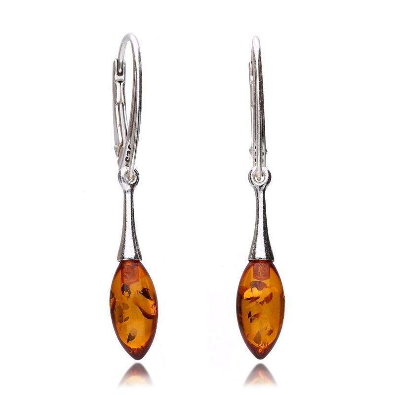 cognac amber drop earrings - silver - HC Jewellers -Royston