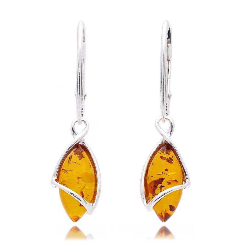 silver amber earrings - cognac - drops - HC Jewellers - Royston