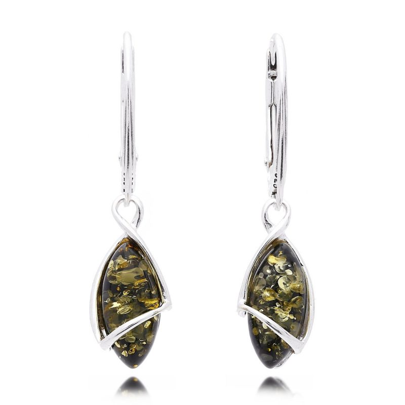green amber drop earrings, silver - HC Jewellers - Royston