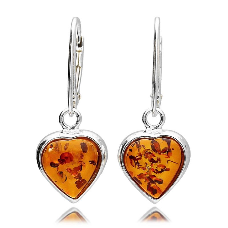 amber heart drop earrings - silver - cognac - HC Jewellers - Royston