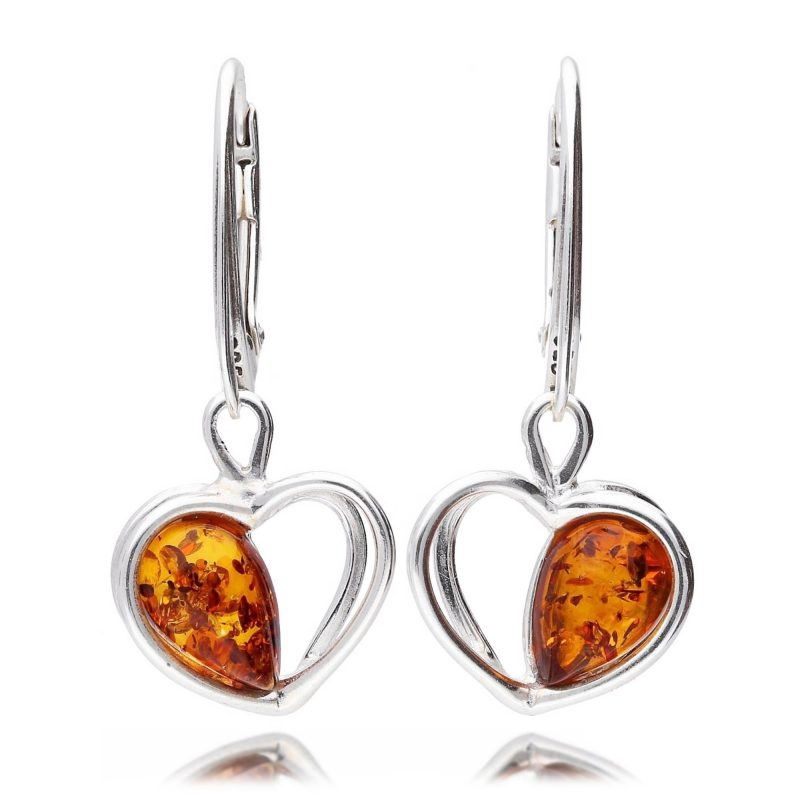 heart drop earrings - silver - cognac amber - HC Jewellers - Royston