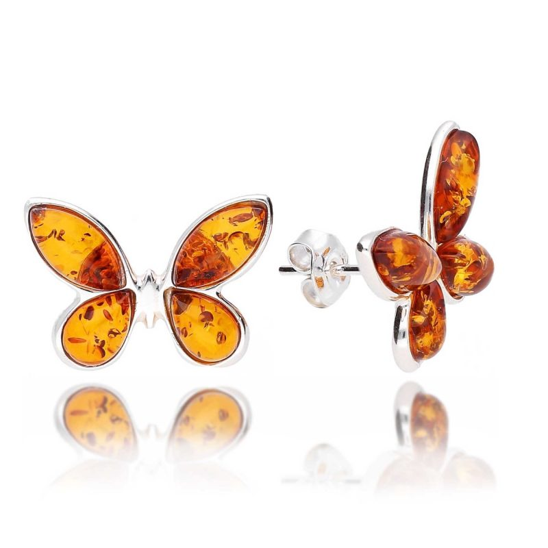 amber butterfly stud earrings - cognac -silver - HC Jewellers - Royston