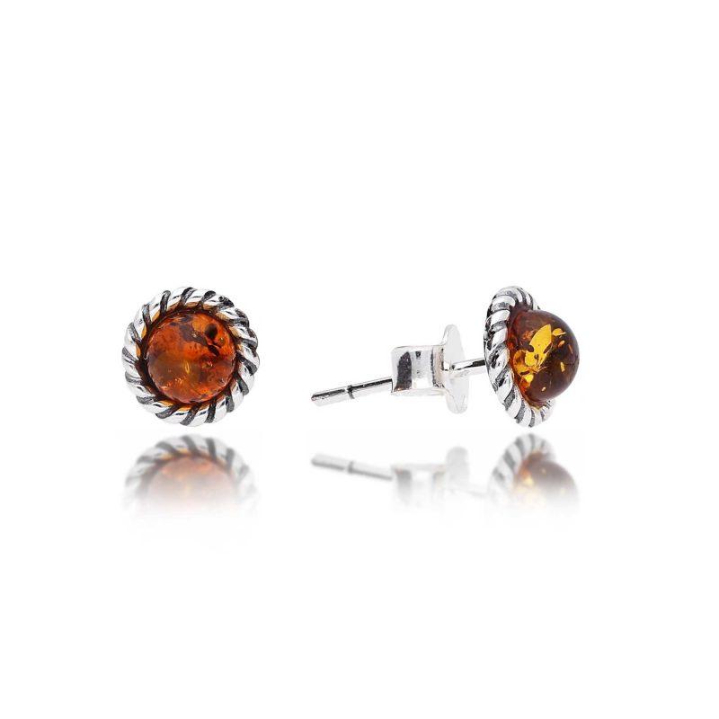 cognac amber studs - silver - oxidised - HC Jewellers - Royston