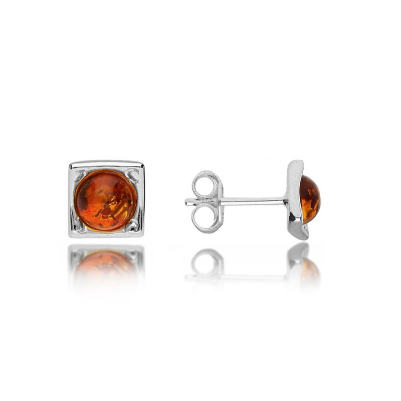 baltic amber stud earrings - cognac - silver - HC Jewellers - Royston