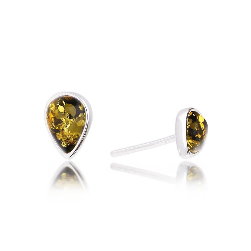 tear shapre stud earrings - green amber - silver - HC Jewellers - Royston
