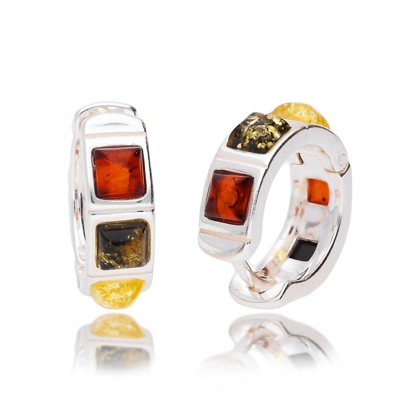 amber hoop earrings - multi-colour - silver - HC Jewellers - Royston