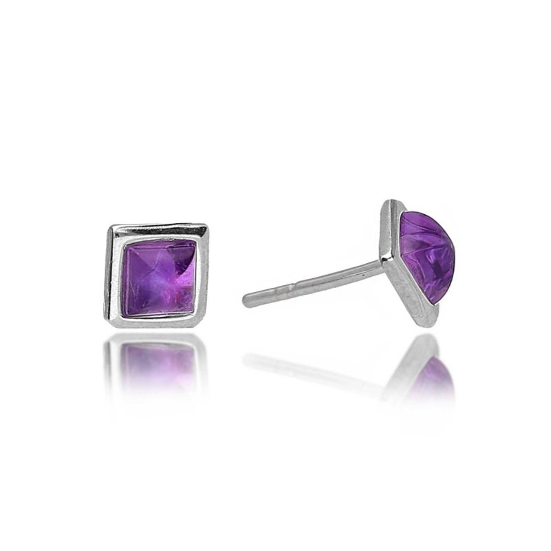 amethyst earrings - square - studs - HC Jewellers - Royston
