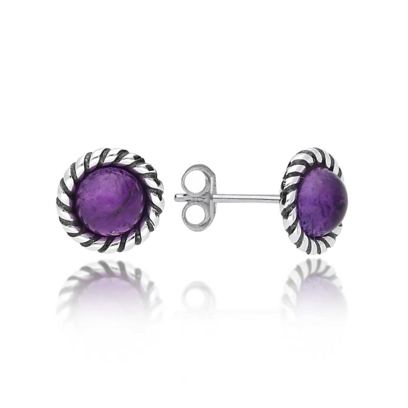 amethyst studs - oxidised silver - round - earrings - sterling silver - HC Jewellers - Royston